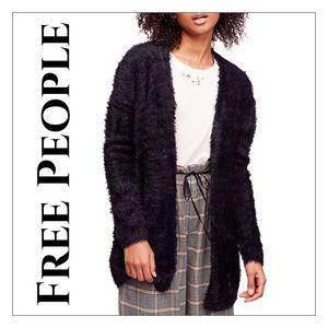 NWT Black Free People Faux Fur Open Cardigan
